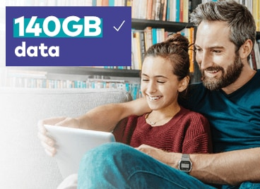 Enjoy 140GB data on your your tablet or modem when you get our $70 BYO Data SIM plan.