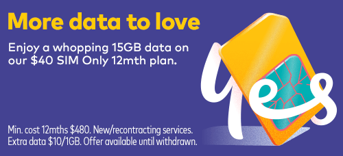 Enjoy a whopping 15GB data on our $40 SIM Only 12 mth plan.