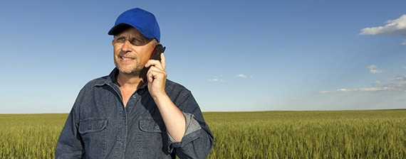 man in field on a mobile phone