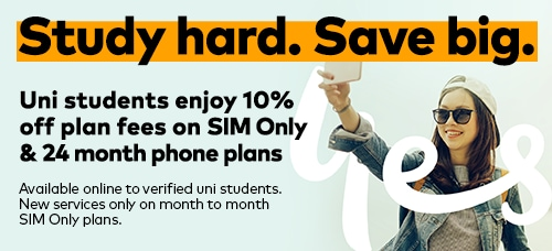 Student enjoy 10% off plan fees on SIM only & 24 month phone plans