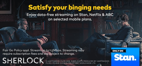 Enjoy data-free streaming on Stan, Netflix & ABC on selected mobile plans.