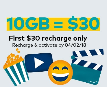 10GB = $30. First $30 recharge only. Recharge and activate by 04/02/18