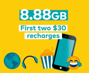 Standard 3GB + 5.88GB bonus data for customers who activate from the 05/02/18. 1st recharge by the 28/03/18. 2nd recharge by 30/06/18. All for use in AU in 28 days