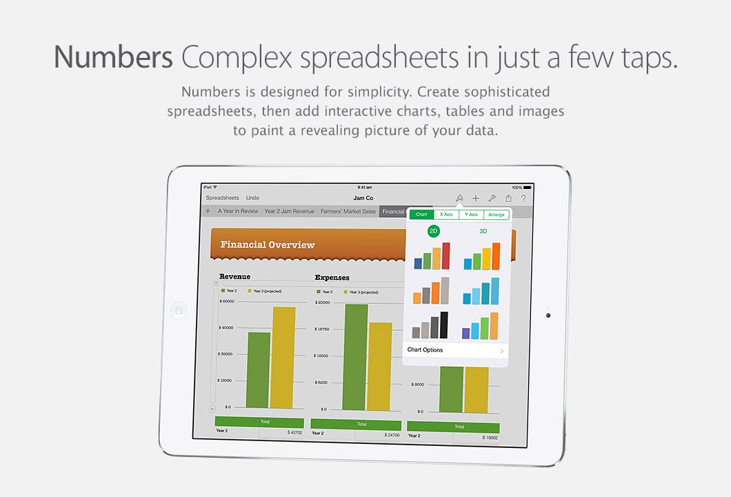 Numbers - Complex spreadsheets in just a few taps