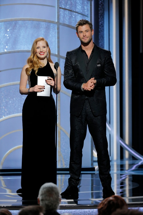 Jessica Chastain and Chris Hemsworth onstage