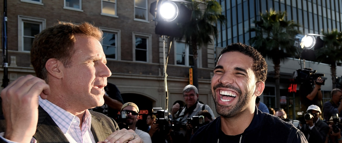 Drake and Will Ferrell share a laugh on the red carpet.
