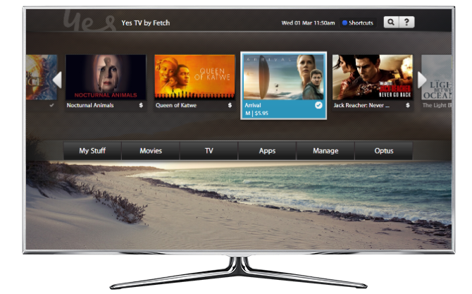 The Fetch TV user interface for Optus TV with Fetch