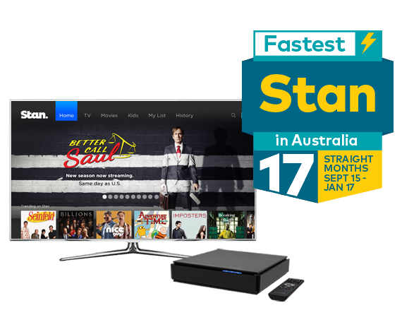 Stan menu on home television screen with Yes TV by Fetch set-top box - Optus