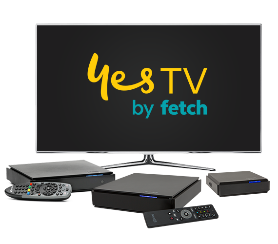 Yes TV by Fetch showing 3 different set-top boxes