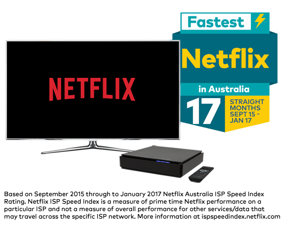 Netflix menu on home television screen with Yes TV by Fetch set-top box - Optus