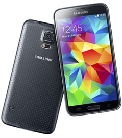 alt text: Samsung Galaxy S5 mobile phone