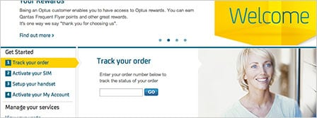track your order on the optus welcome page