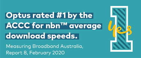 Optus rated number one by the ACCC for nbn average download speeds.