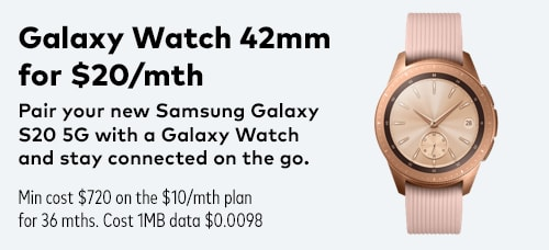 Galaxy Watch 42mm for $20/mth banner
