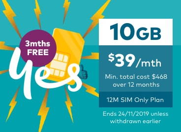 3 months free. 10GB for $39 a month. 12 month SIM Only plan.